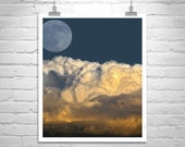 Moon Art, Desert Sky Art, Storm Photography, Moonrise Picture, Arizona Gift, Thunderstorm Art, Arizona Monsoon, Tucson Gift, Sky and Clouds