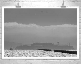 Alcatraz Picture, Berkeley Pier, San Francisco Bay, Sailing Art, Black and White, Northern California, Murray Bolesta, Fine Art Prints