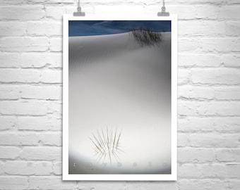 New Mexico Art, Desert Sand Dunes, Vertical Print, Minimalist Art, Surreal Art, Nature Photography, White Sands, Elegant Art, Western Art