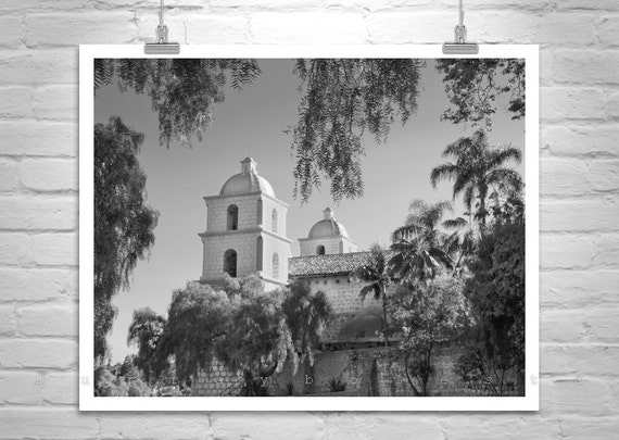 Santa Barbara Art, Black and White Photography, California Missions, Sepia Art, Church Art, Architecture Art, California Art, Fine Art Print