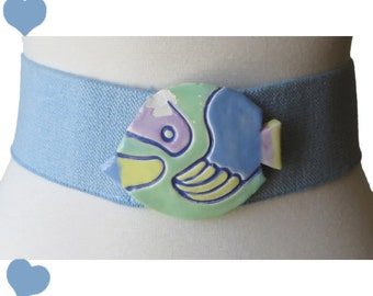 Vintage 80s Belt / Fish Buckle Belt / Novelty Fish Belt / 1980s Fish Belt / Vintage 1980s Belt / Rockabilly Pinup Belt / Blue Belt / M L