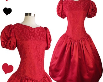 Vintage 80s Dress // Red Puff Sleeve Lace Full Skirt Party Dress L Short Sleeves 80s Prom Dance Satin Taffeta Skirt Formal Bridesmaid Cherry