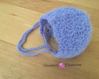 Newborn angora bonnet... Ready to ship... Purple bonnet.. Photography prop.. Ready to ship