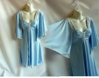 Vintage 70s Dress size S Baby Blue Disco Flutter Sleeve Hippie Boho Bridesmaid