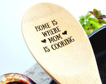 Engraved Spoon Bamboo Wood Engraved spoon Mother's Day Spoon Personalized Wood Spoon Mom's Kitchen Grandma Baker Foodie Chef Gift spoonerz