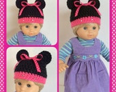 Doll Clothes Made To Fit Bitty Twin,  Minnie Mouse Crochet Hat, Pink or Red Polka Dot, 15 Inch, Handmade