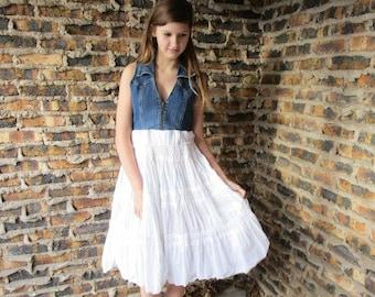 Small Denim Boho Shabby Chic Cotton Spring Summer Dress// Sleeveless Zip Up// emmevielle