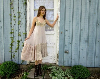 XSmall Small Metallic Beige Trapeze Drop Waist Upcycled Dress// Spring Summer// emmevielle