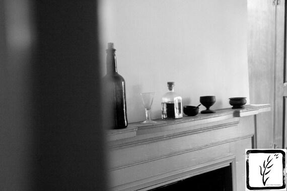 Historic, B&W Photograph, fine art, photo print, photography, wall art, home decor, bottles, mantle, glasses, Long Island, New York