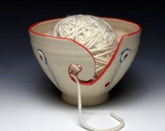 White Button Ceramic Yarn Bowl, Ceramic Knitting Bowl