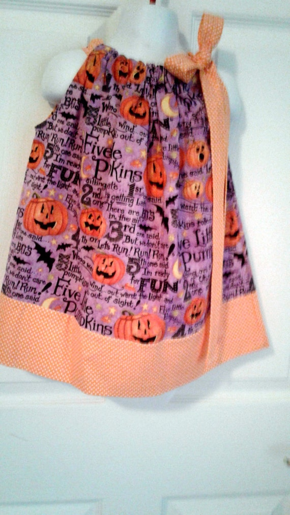Halloween Dress, Pumpkin Dress, Handcrafted, Pillowcase Dress,Fall Dress,Autumn Dress, Baby Dress, Toddler Dress, Girls Dress