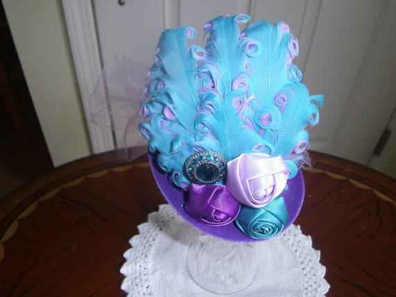 Girls Mini Top Hat, Fascinator, Handcrafted, Purple Aqua Hat,Birthday hat, Tea Party, Bridesmaid Hairpeice, Prom Hairpeice,photo prop