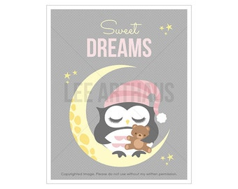 6T Owl Art - Sweet Dreams - Baby Girl Owl on Moon Wall Art - Girl Nursery Art - Gift Idea for New Baby Girl - Dreams Print - Kids Gift Idea