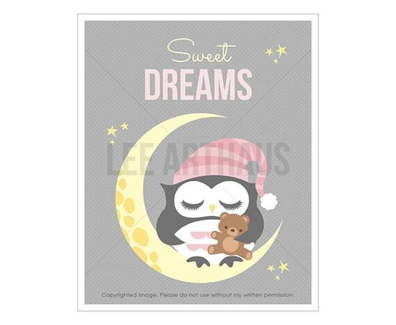 6T Owl Art - Sweet Dreams - Baby Girl Owl on Moon Wall Art - Girl Nursery Art - Gift Idea for New Baby Girl - Dreams Print - Kids Gift Idea