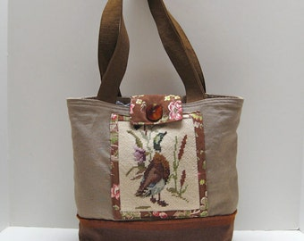Fall Linen Tote Bag, Shoulder Bag, Carry All, Needlepoint