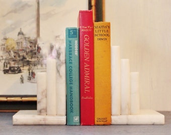 vintage marble bookends - stepped bookend set