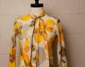 Vintage 1960's 1970's Yellow Orange Floral Neck Tie Blouse Button Shirt S