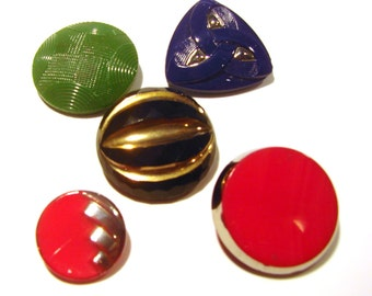 Art Deco Glass Buttons - Lot of 5
