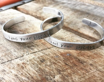 Hand Stamped Skinny Aluminum Bangle find your BRAVE Bracelet Cuff