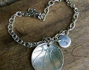 Basketball Open Link Bracelet Sterling Silver Charm With Number or Initial Basketball Mom ** SALE ** Basketball Charm