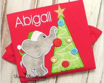 Girls Christmas Pajama - Boys Christmas Pajama - Elephant Pajamas - Christmas PJs - Christmas Elephant - Girls Christmas PJs