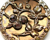 "1800s LG French BUTTON, Victorian flowers with cut steel,  1"". Paris back."