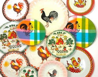60s Tin Toy Tea Plates, Roosters & Chickens set of 13, Instant Collection.