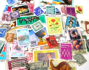 5 Dozen postage stamps, 1900-present, Assorted. Great for jewelry, altered art & mixed media.