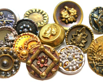 Antique BUTTONS, 13 Victorian metal shabby chic picture buttons.