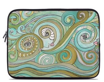 Computer sleeve * Honeydew ocean waves green laptop artist sleeve * Tablet artist sleeves  * Boho style art laptop * Colorful tablet cases