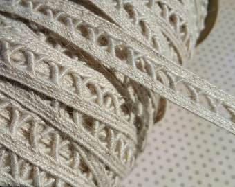 "Natural Woven Braid Trim - NARROW Criss Cross Pattern - Cream Sewing Braid Trim - 5/8"" Wide - 3 Yards"