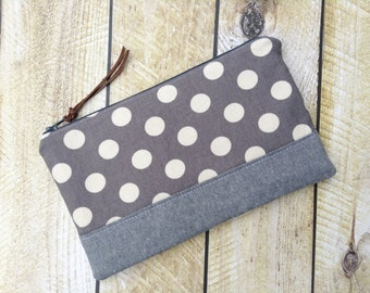 Zippered Clutch - Clutch Purse - Grey with White Dots - Clutch - Polka Dots