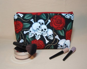 Skulls and Roses - Large Padded Cotton Cosmetic Bag Zipper Pouch Inside Pocket