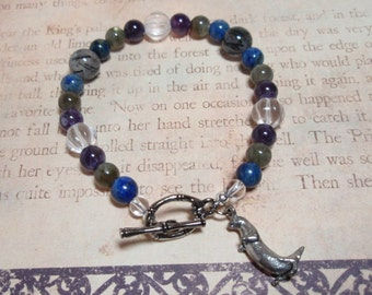 River Otter - Labradorite Sodalite Amethyst Tourmalinated Quartz and Clear Quartz Crystal Gemstone Otter Charm Toggle Clasp Bracelet