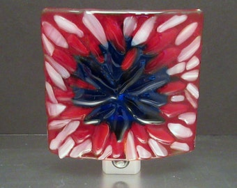 Fused Glass Faux Lace Patriotic Red White and Blue LED Nightlight