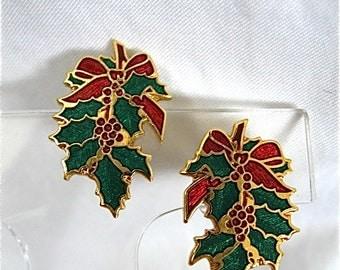 Vintage Christmas Holly Earrings