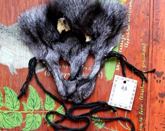Fox mask - real eco-friendly silver fox fur mask headdress with ears and braided yarn cords for ritual, dance, costume and more