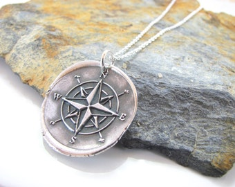 Compass Rose Necklace - Hand Made from Fine Silver- Sterling Chain - Made to Order