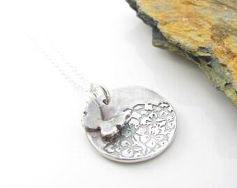 Silver Necklace - Butterfly on Hydrangea  - Butterfly Pendant - Fine Silver Necklace - Butterfly Necklace - Fine Silver Pendant - Hydrangea