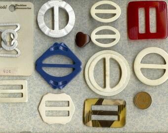 Lot 12 Vintage Buckles-Celluloid-Bakelite-Slides
