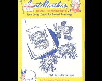 Aunt Martha's Vegetable Tea Towels - Embroidery Transfers 3403