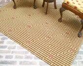 Gold Black Diamond Rug Carpet Rose 1:12 Dollhouse Miniature Artisan