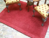 Plush Maroon Rug Carpet Textured 1:12 Dollhouse Miniatures Artisan Scale