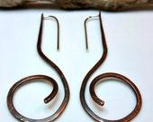 Long Rustic Patina Copper Statement Earrings, Fiddlehead, Ethnic, Bohemian, Tribal, Music Note Scroll, Swirls, Coiled, Bold, Fun, Chic