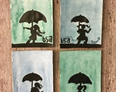 Set of four hand painted watercolor notecards