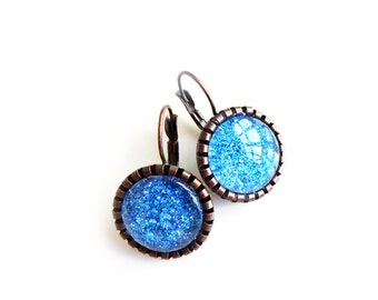 Vintage French lever-back earrings in blue sparkle