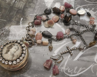 Please Surrender Pink Tourmaline & Opal Antique Sterling French Rosary Box/Locket Necklace