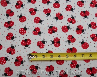 Red Ladybugs Summer White Polka Dots on White BY YARDS Timeless Treasure Fabric