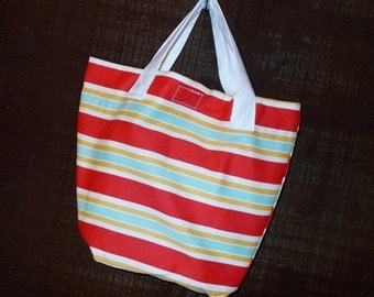 Bag/Purse-13 x 9 inch-the Little Sis Bag with tomato red, summer gold, and turquoise stripes