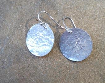 "3/4"" Hammered Sterling Disc Earrings"